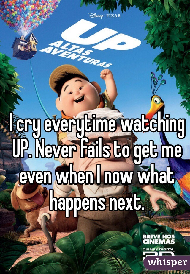I cry everytime watching UP. Never fails to get me even when I now what happens next.