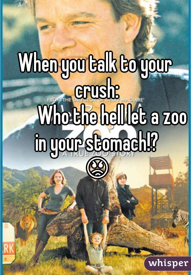 When you talk to your crush:          Who the hell let a zoo in your stomach!? 😡😖