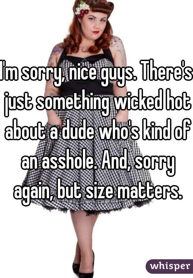 I'm sorry, nice guys. There's just something wicked hot about a dude who's kind of an asshole. And, sorry again, but size matters.