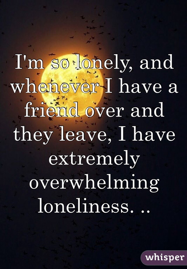I'm so lonely, and whenever I have a friend over and they leave, I have extremely overwhelming loneliness. ..