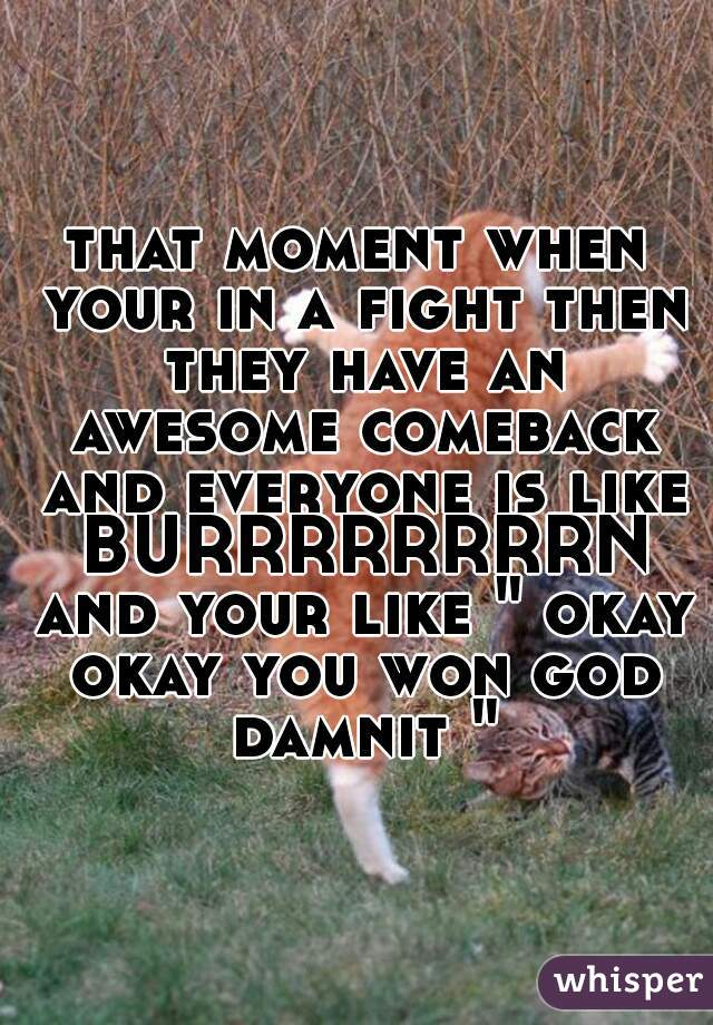 """that moment when your in a fight then they have an awesome comeback and everyone is like BURRRRRRRRN and your like """" okay okay you won god damnit """""""