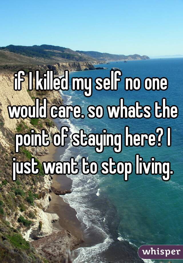 if I killed my self no one would care. so whats the point of staying here? I just want to stop living.