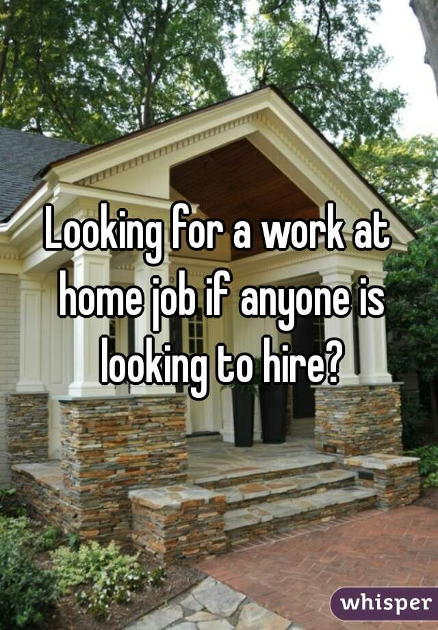 Looking for a work at home job if anyone is looking to hire?