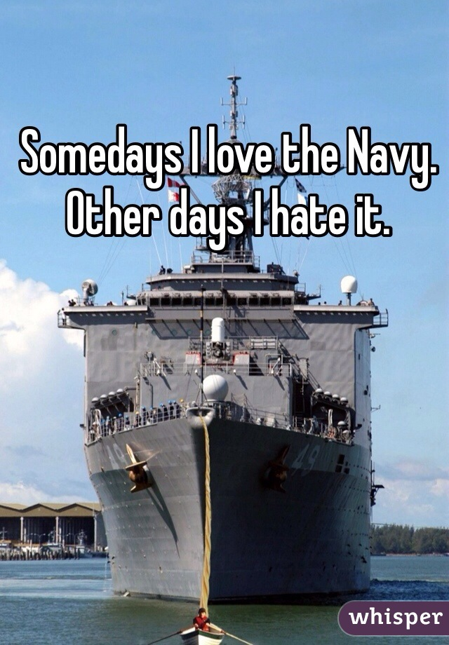 Somedays I love the Navy. Other days I hate it.