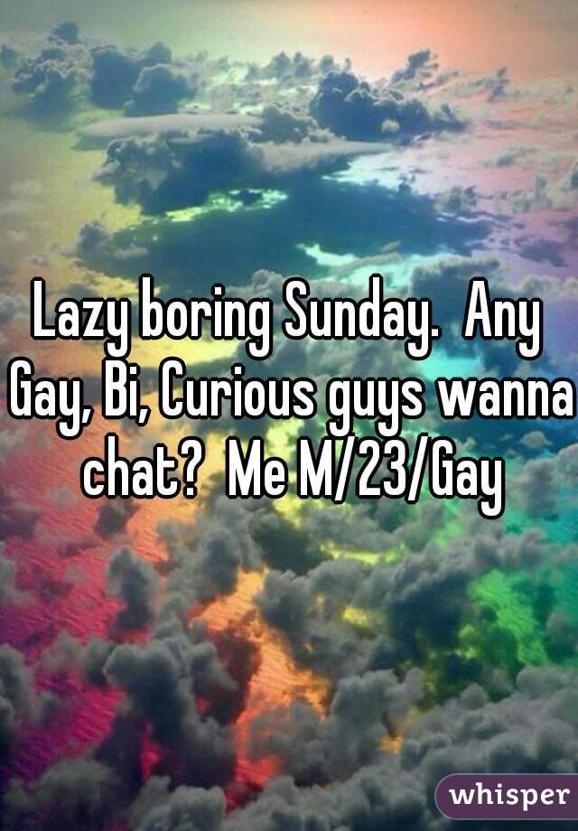 Lazy boring Sunday.  Any Gay, Bi, Curious guys wanna chat?  Me M/23/Gay