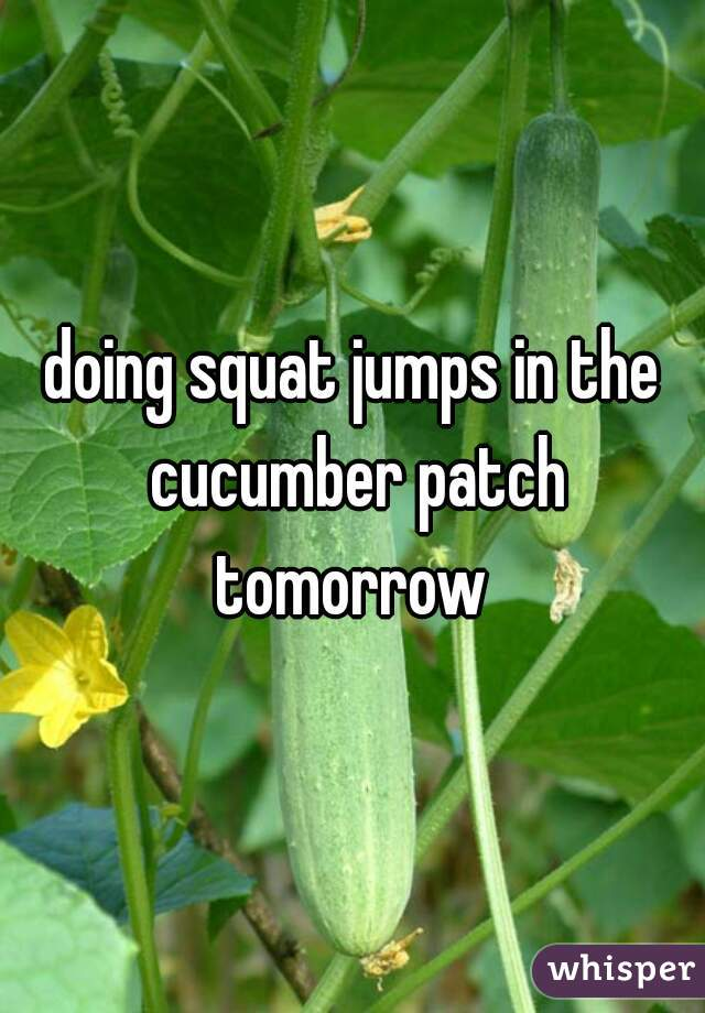 doing squat jumps in the cucumber patch tomorrow