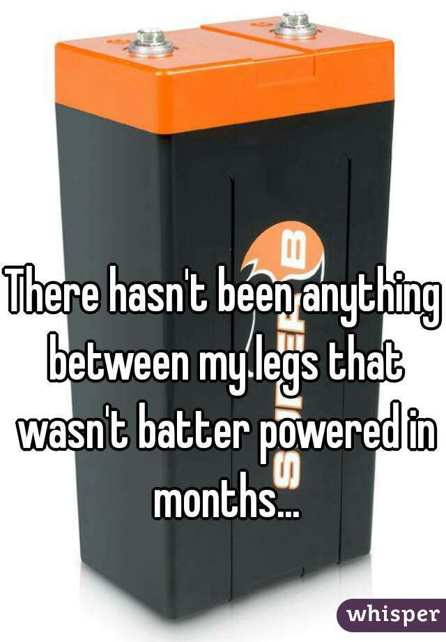 There hasn't been anything between my legs that wasn't batter powered in months...