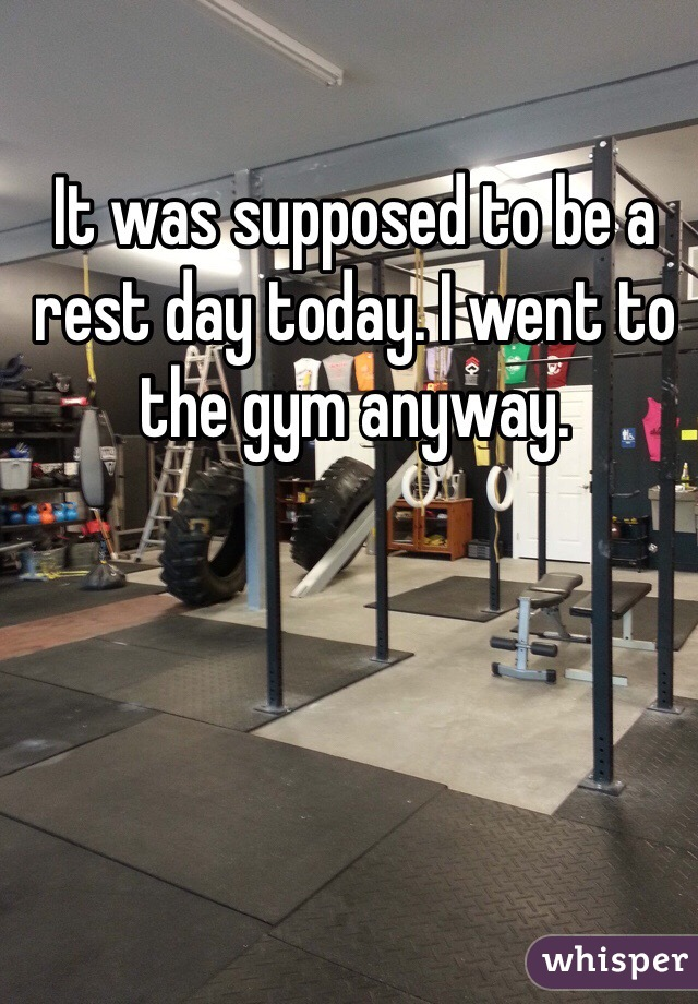 It was supposed to be a rest day today. I went to the gym anyway.