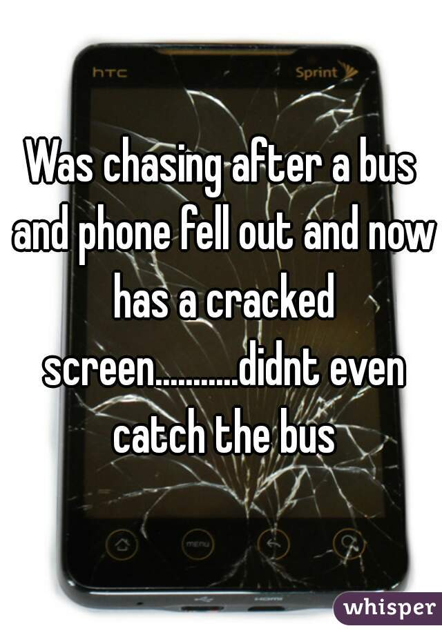 Was chasing after a bus and phone fell out and now has a cracked screen...........didnt even catch the bus