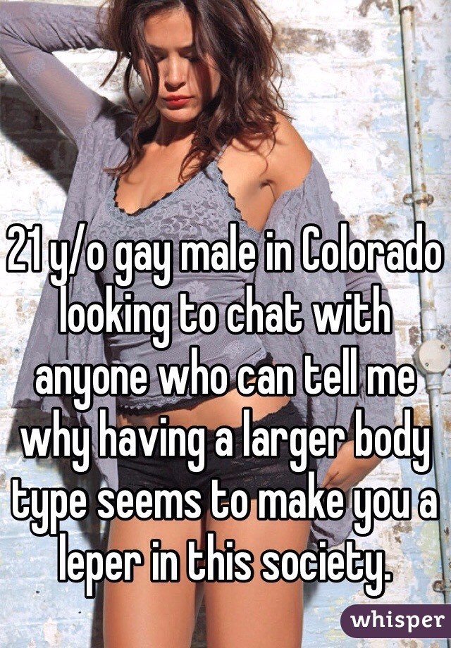 21 y/o gay male in Colorado looking to chat with anyone who can tell me why having a larger body type seems to make you a leper in this society.