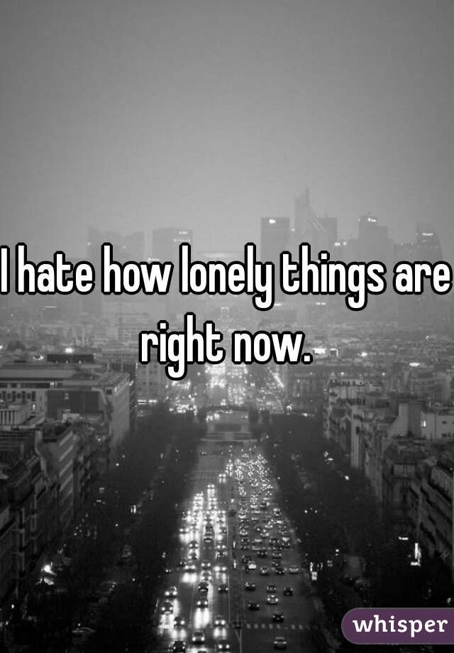 I hate how lonely things are right now.