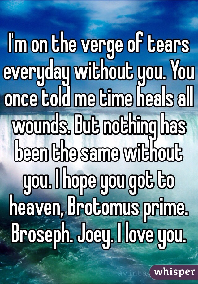 I'm on the verge of tears everyday without you. You once told me time heals all wounds. But nothing has been the same without you. I hope you got to heaven, Brotomus prime. Broseph. Joey. I love you.
