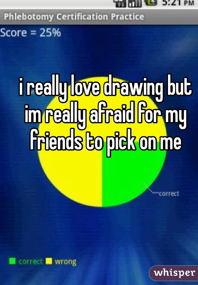 i really love drawing but im really afraid for my friends to pick on me