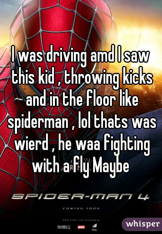 I was driving amd I saw this kid , throwing kicks and in the floor like spiderman , lol thats was wierd , he waa fighting with a fly Maybe