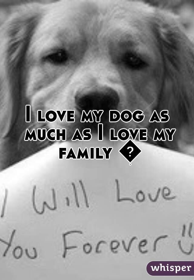 I love my dog as much as I love my family 😊