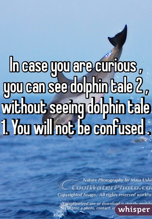 In case you are curious , you can see dolphin tale 2 , without seeing dolphin tale 1. You will not be confused .