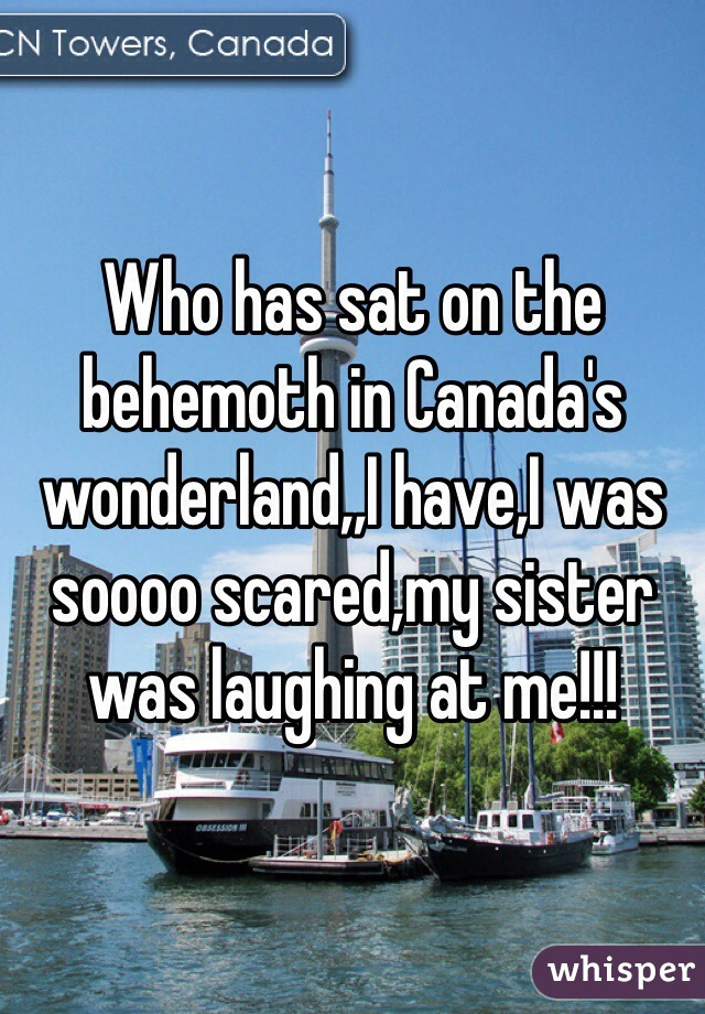 Who has sat on the behemoth in Canada's wonderland,,I have,I was soooo scared,my sister was laughing at me!!!