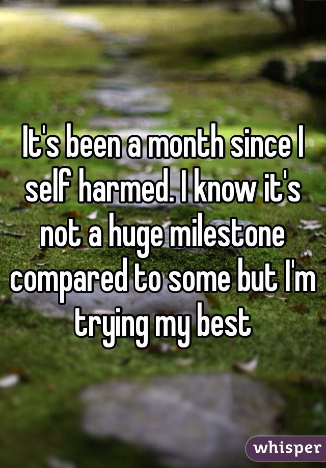 It's been a month since I self harmed. I know it's not a huge milestone compared to some but I'm trying my best