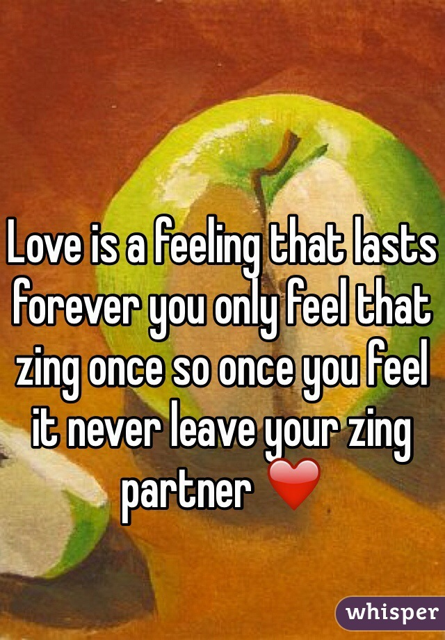 Love is a feeling that lasts forever you only feel that zing once so once you feel it never leave your zing partner ❤️