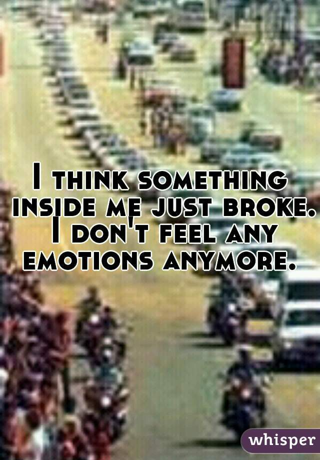 I think something inside me just broke. I don't feel any emotions anymore.