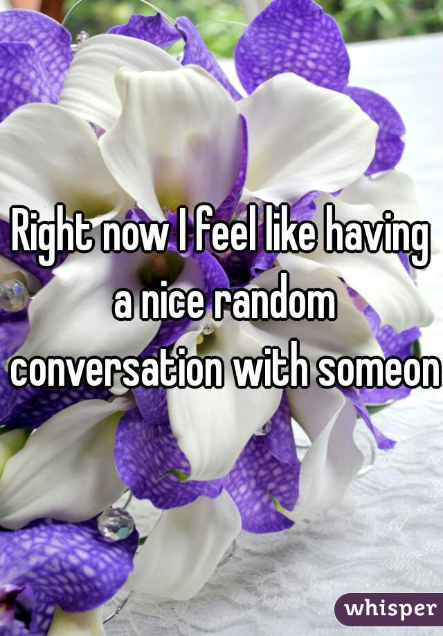 Right now I feel like having a nice random conversation with someone