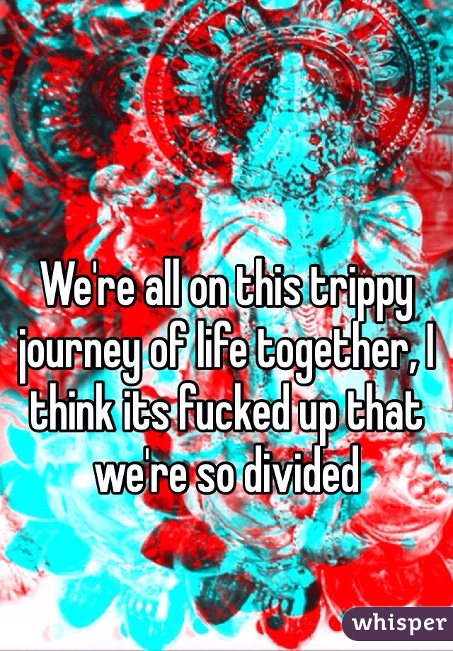 We're all on this trippy journey of life together, I think its fucked up that we're so divided