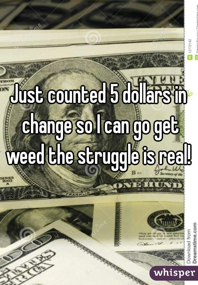 Just counted 5 dollars in change so I can go get weed the struggle is real!