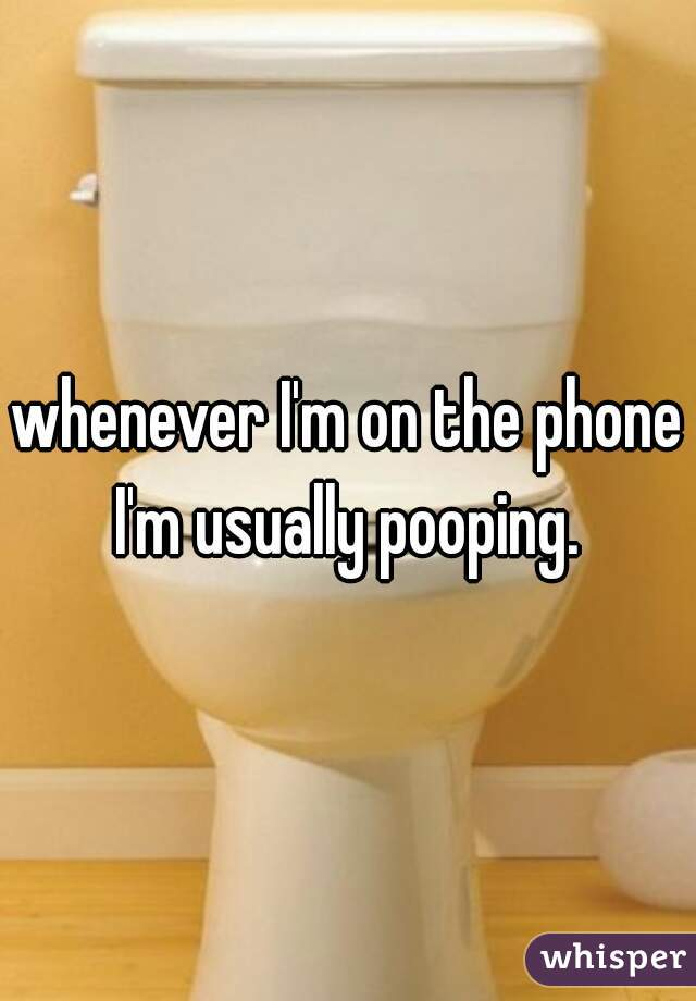 whenever I'm on the phone I'm usually pooping.