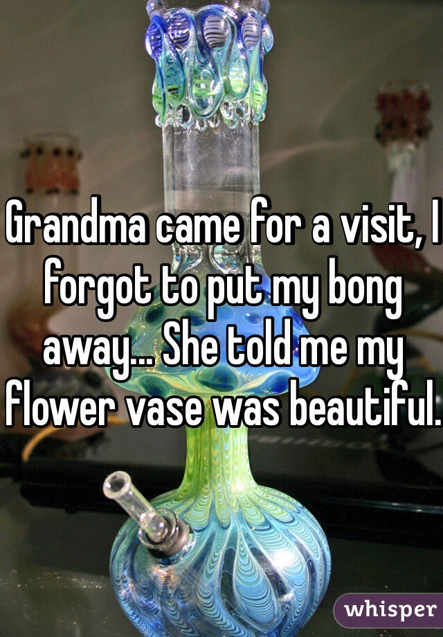 Grandma came for a visit, I forgot to put my bong away... She told me my flower vase was beautiful.