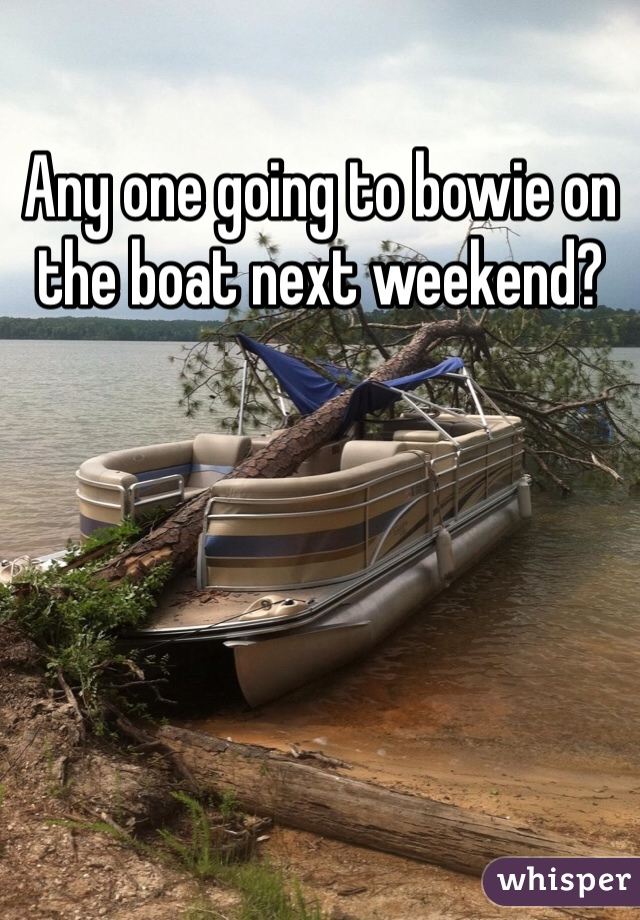Any one going to bowie on the boat next weekend?