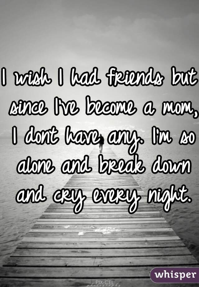 I wish I had friends but since I've become a mom, I dont have any. I'm so alone and break down and cry every night.