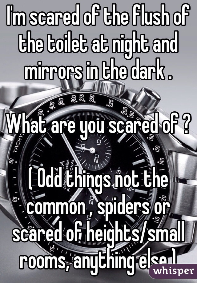 I'm scared of the flush of the toilet at night and mirrors in the dark .   What are you scared of ?   ( Odd things not the common , spiders or scared of heights/small rooms, anything else )
