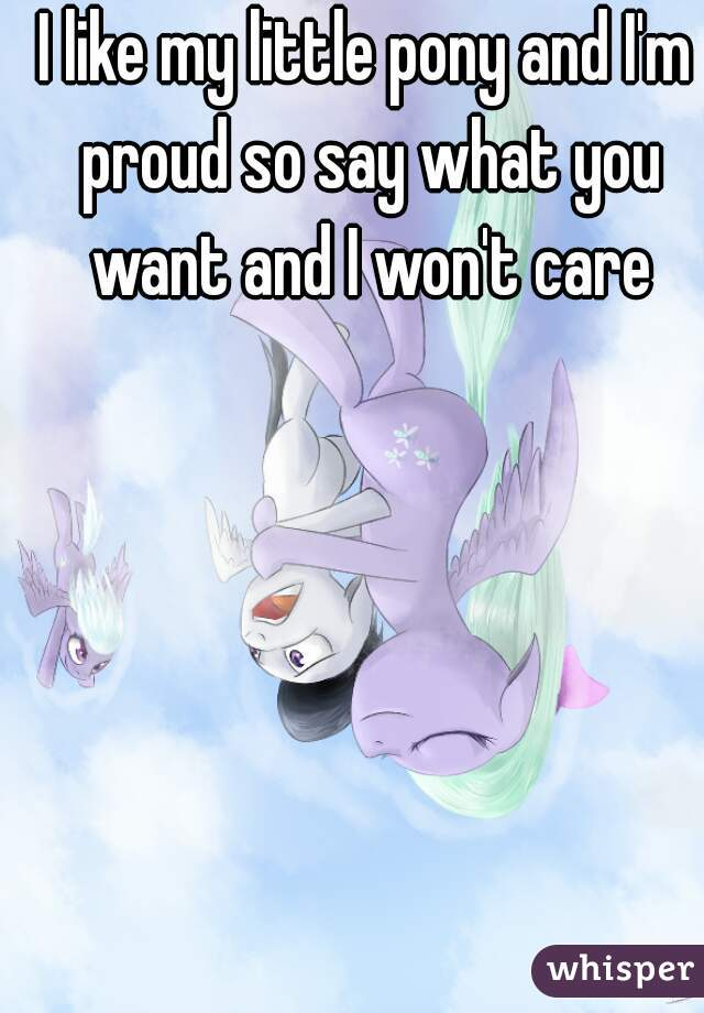 I like my little pony and I'm proud so say what you want and I won't care