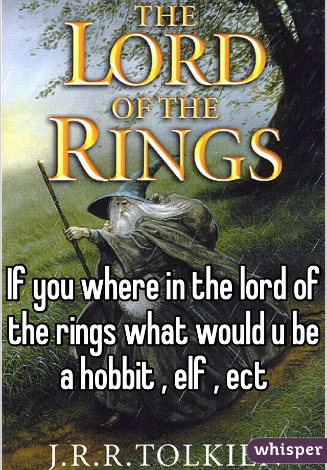 If you where in the lord of the rings what would u be a hobbit , elf , ect