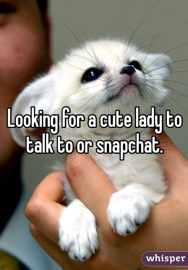 Looking for a cute lady to talk to or snapchat.