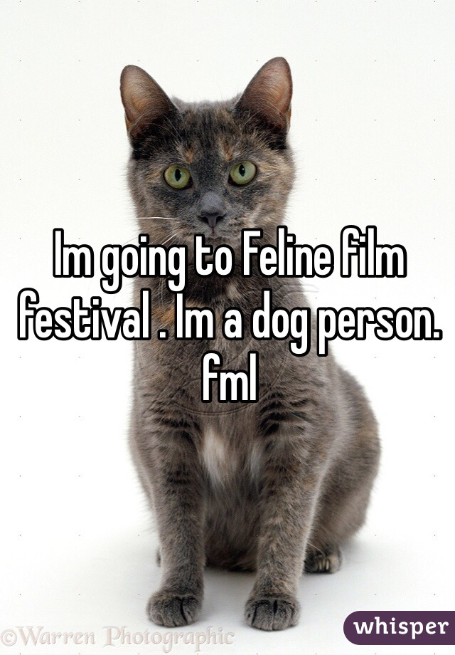 Im going to Feline film festival . Im a dog person. fml