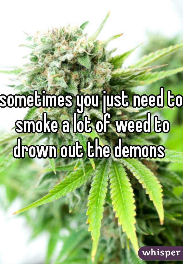 sometimes you just need to smoke a lot of weed to drown out the demons