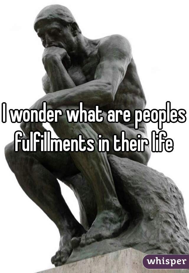 I wonder what are peoples fulfillments in their life