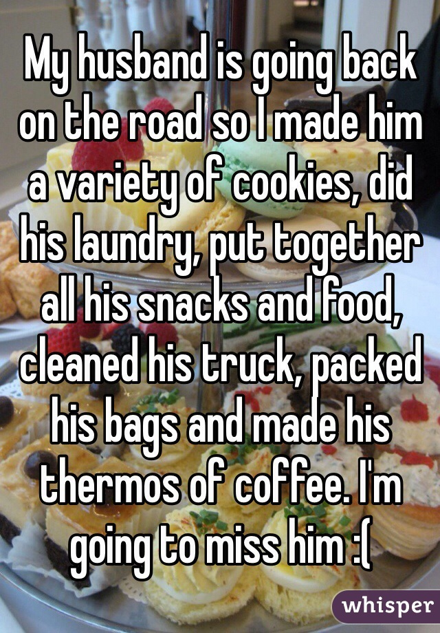 My husband is going back on the road so I made him a variety of cookies, did his laundry, put together all his snacks and food, cleaned his truck, packed his bags and made his thermos of coffee. I'm going to miss him :(