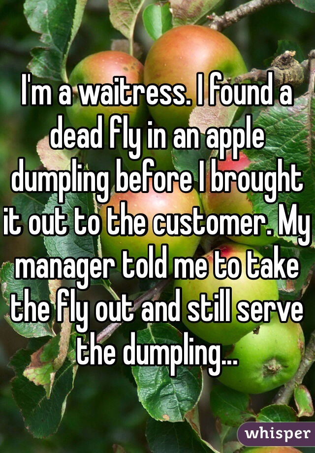 I'm a waitress. I found a dead fly in an apple dumpling before I brought it out to the customer. My manager told me to take the fly out and still serve the dumpling...