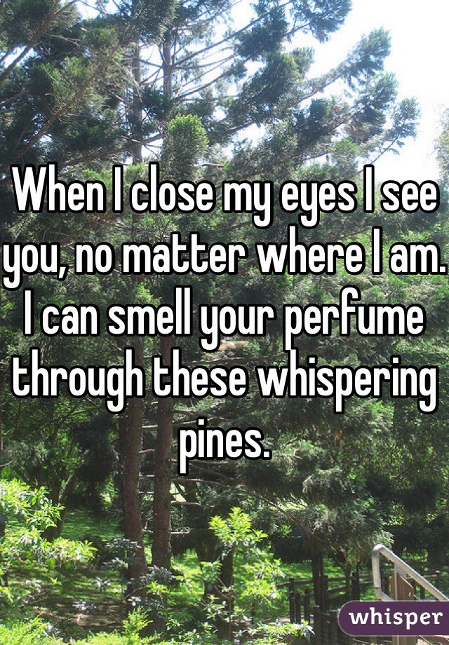 When I close my eyes I see you, no matter where I am. I can smell your perfume through these whispering pines.