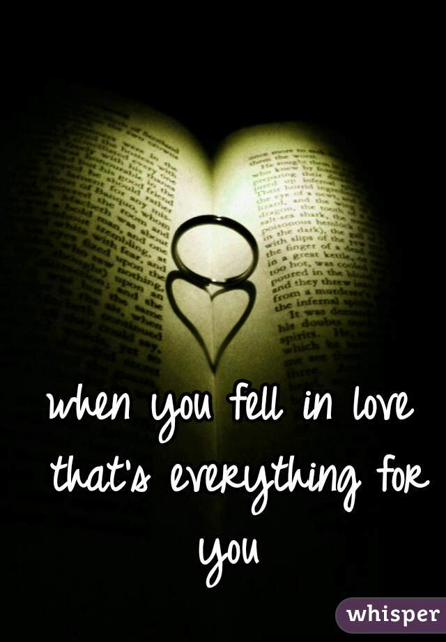 when you fell in love that's everything for you