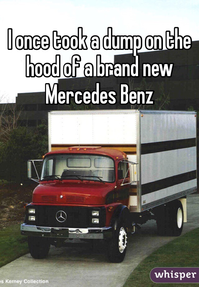 I once took a dump on the hood of a brand new Mercedes Benz
