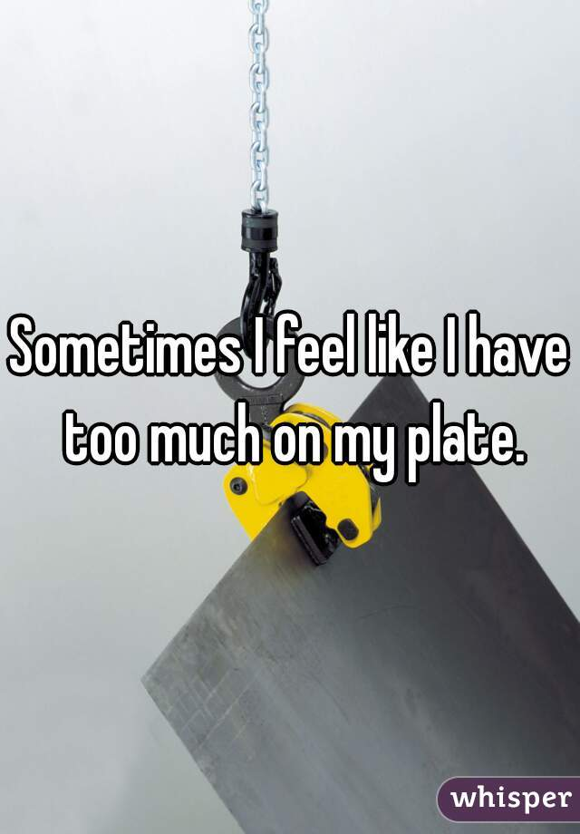 Sometimes I feel like I have too much on my plate.