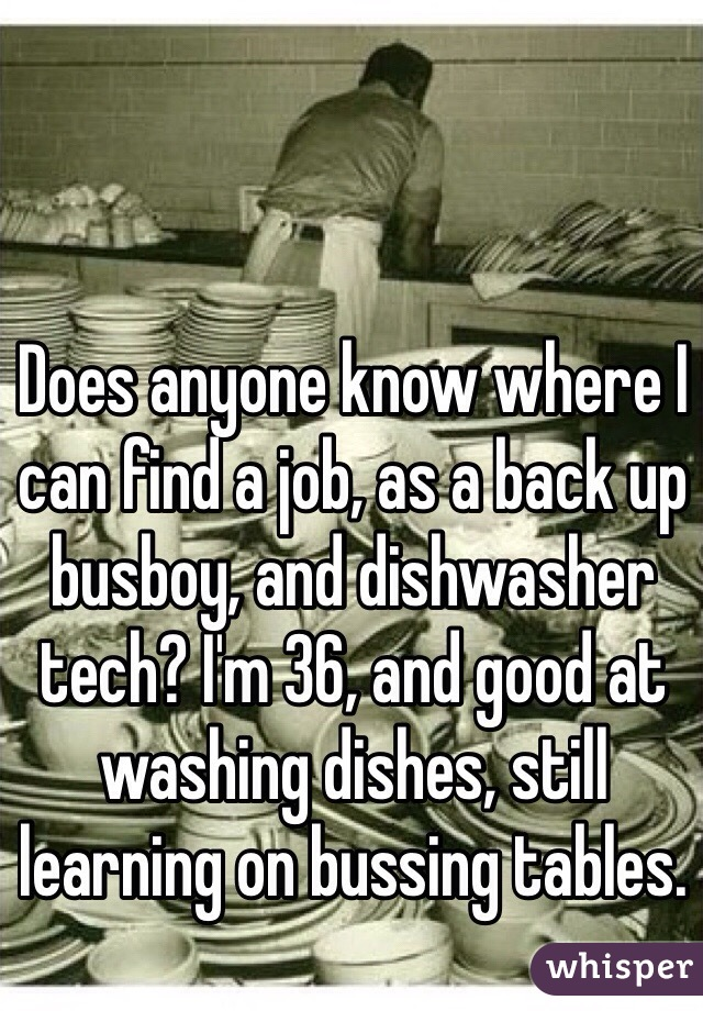 Does anyone know where I can find a job, as a back up busboy, and dishwasher tech? I'm 36, and good at washing dishes, still learning on bussing tables.