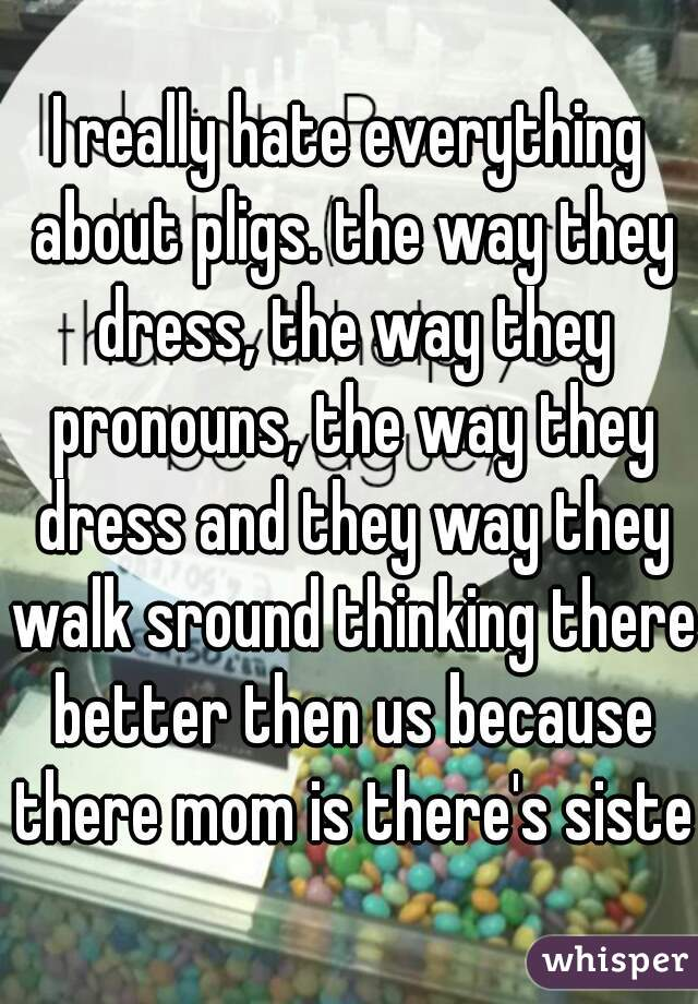 I really hate everything about pligs. the way they dress, the way they pronouns, the way they dress and they way they walk sround thinking there better then us because there mom is there's sister