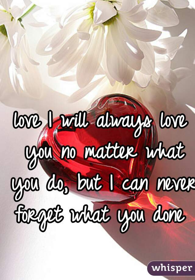love I will always love you no matter what you do, but I can never forget what you done