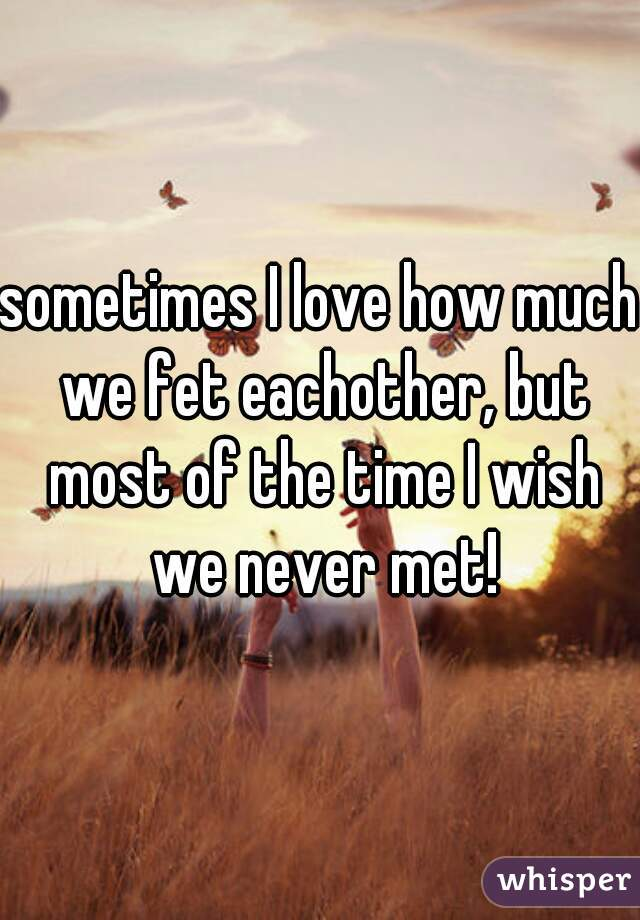 sometimes I love how much we fet eachother, but most of the time I wish we never met!