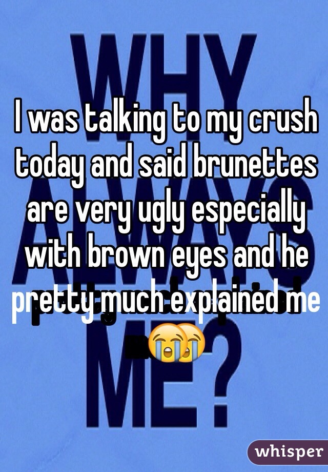 I was talking to my crush today and said brunettes are very ugly especially with brown eyes and he pretty much explained me😭