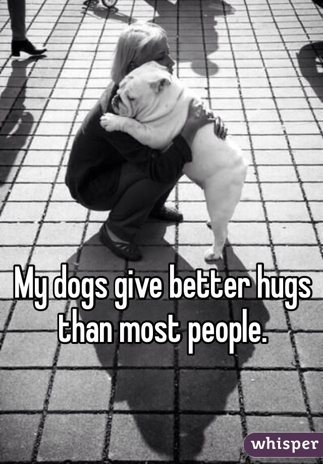 My dogs give better hugs than most people.